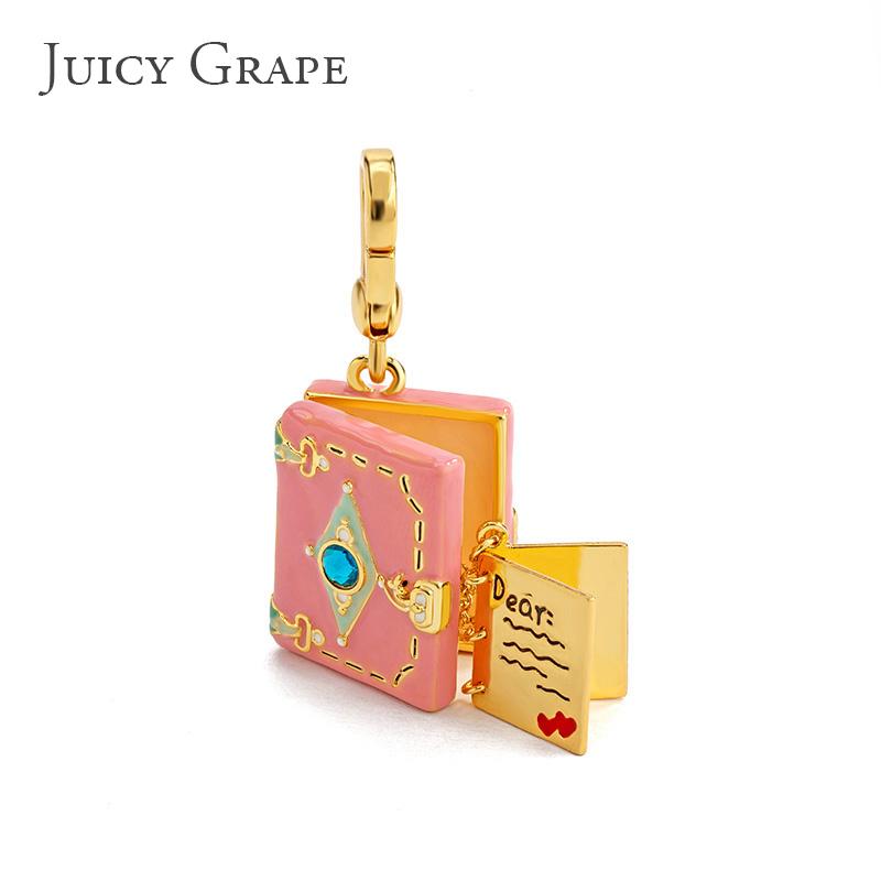 Juicy Grape正品吊坠 粉色少女心复古笔记本项坠女时尚可开挂坠潮