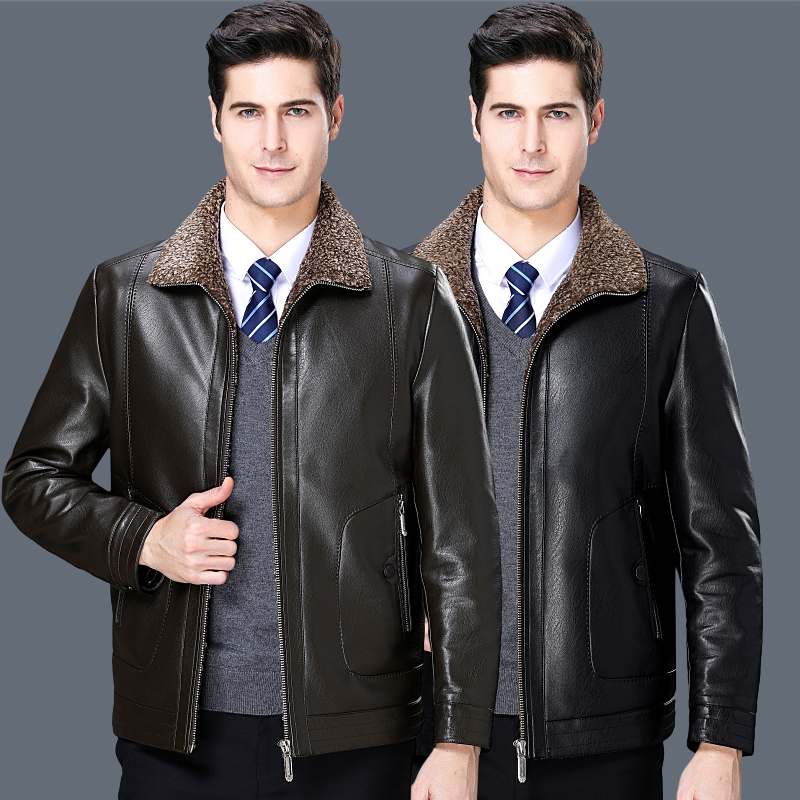 Fathers winter coat Plush thickened middle aged and old mens leather coat middle aged winter fur integrated leather jacket