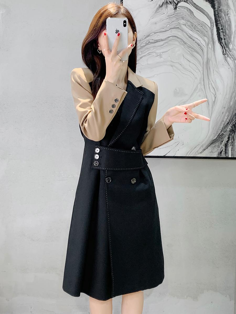 欧列气质通勤高腰显瘦连衣裙2021秋新品女装拼接西装领裙子60721