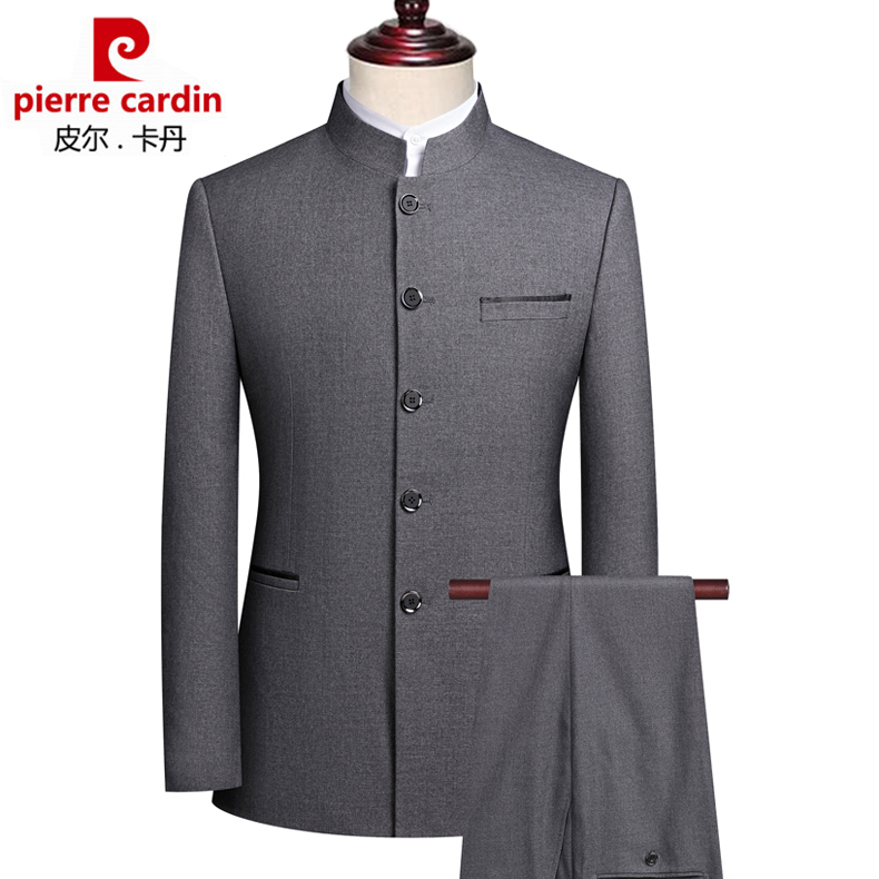 Pierre Cardin Zhongshan suit mens Chinese stand collar suit Chinese style Wedding Banquet Chinese style dress Tang suit