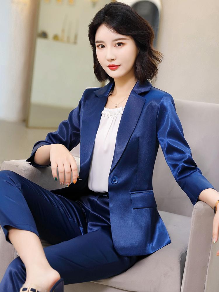 小西装外套女士秋韩版缎面总裁正装时尚气质女神范西服职业套装夏