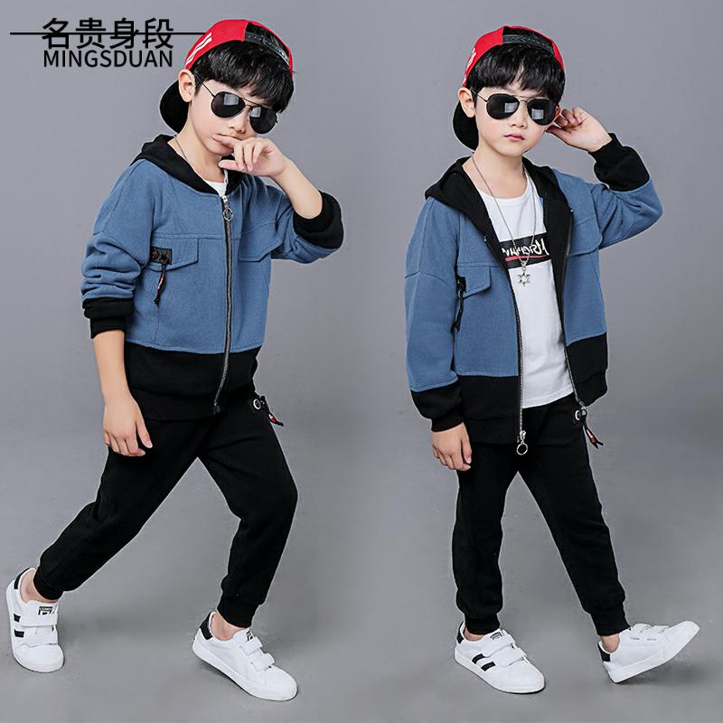 Bộ đồ bé trai xuân thu 2019 mới vừa và quần áo trẻ em phong cách nước ngoài Hàn Quốc đẹp trai 6 trai ba 7 quần áo thủy triều 8 tuổi 9 - Khác