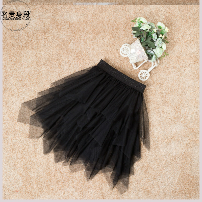 纱裙短款不规则灰色多层女童百褶裙