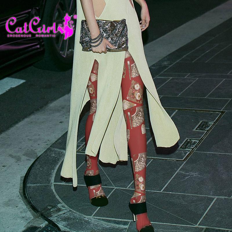 catgirl 日系袜子女潮纹身丝袜学院风裤袜红色丝袜时尚印花连裤袜