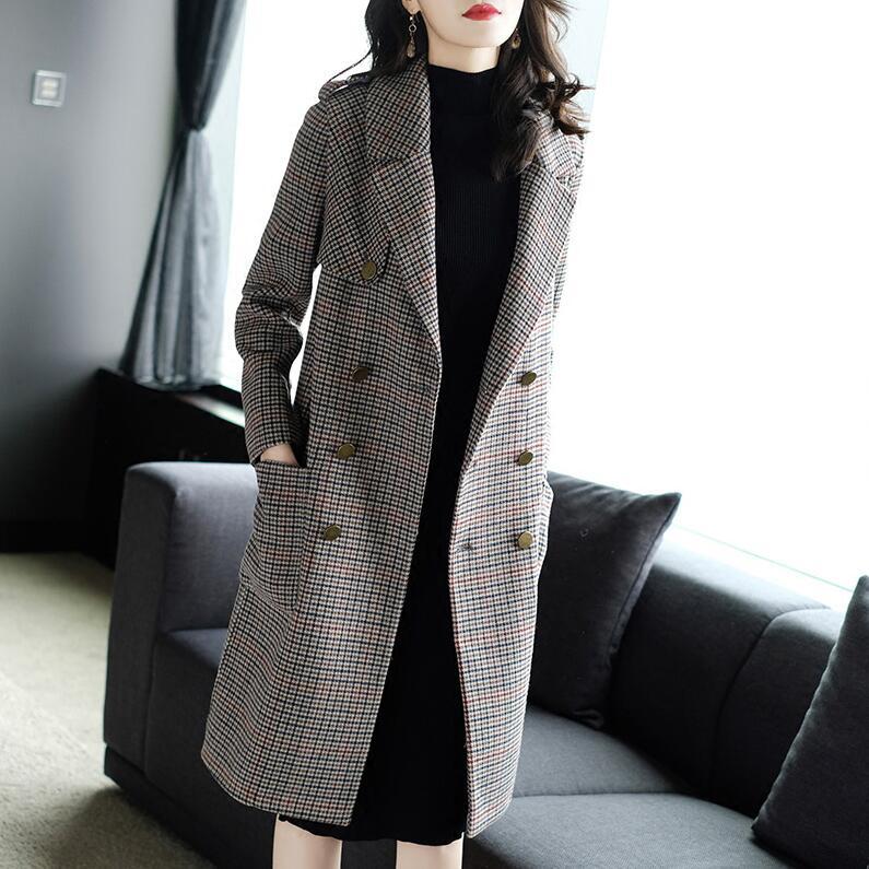 欧美千鸟格毛呢外套女中长款2018秋冬新款长袖双面呢大衣女