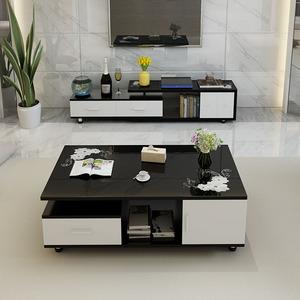茶几电视柜组合套装钢化玻璃现代简约客厅伸缩电视机柜小户型地柜