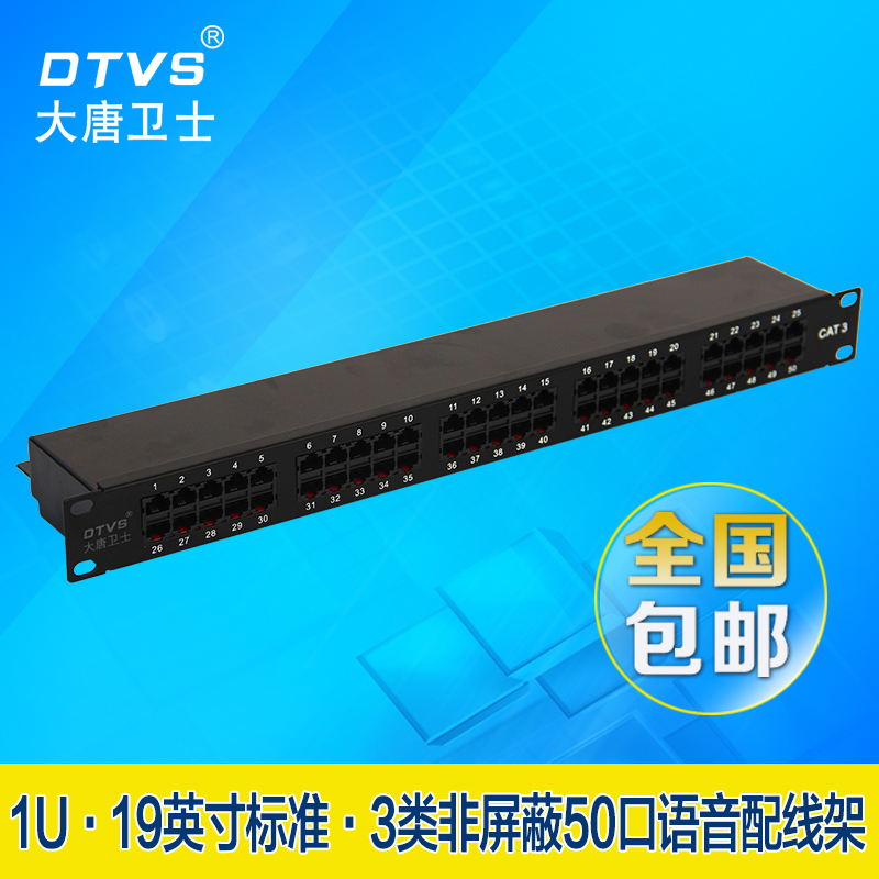 大唐卫士DT8050 1U50口语音配线架110 CAT3网络电话配线架RJ11