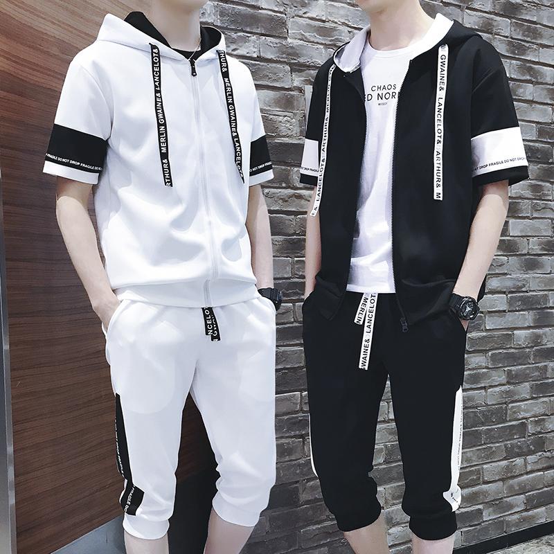 春夏季男士卫衣薄款短袖套装青少年学生运动服男韩版潮流两件一套