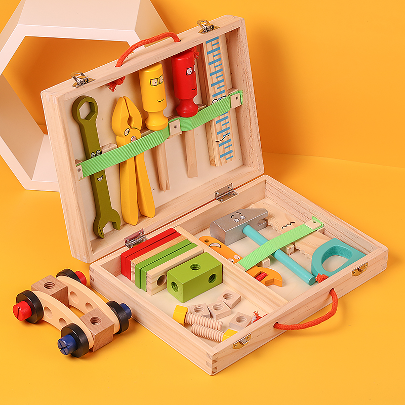 Screw assembly, disassembly and repair toolbox, 4-year-old, 6-year-old children's toy suit, boy and baby, hands-on puzzle assembly