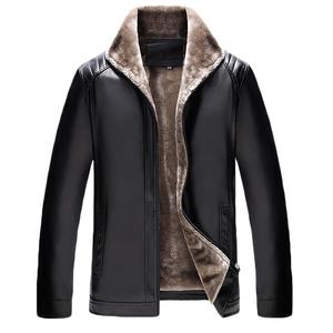 冬季中年<span class=H>皮衣</span>男加绒加厚立领爸爸装保暖外套中老年人pu皮夹克<span class=H>男装</span>