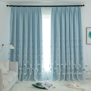 遮光窗帘布纱布一体绣花窗帘纱蜻蜓花田园风简约卧室飘窗客厅阳台