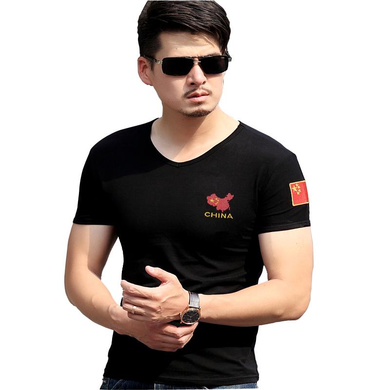 贺豹夏季军装刺绣中国狼头半袖特种兵军迷短袖紧身t恤男体恤