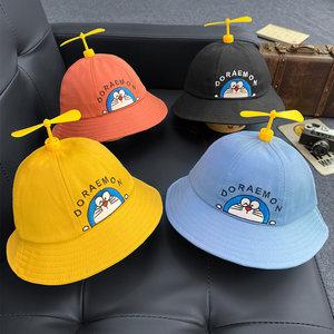 风车帽子儿童渔夫帽男女童春秋夏防晒遮阳帽竹蜻蜓婴儿宝宝太阳帽