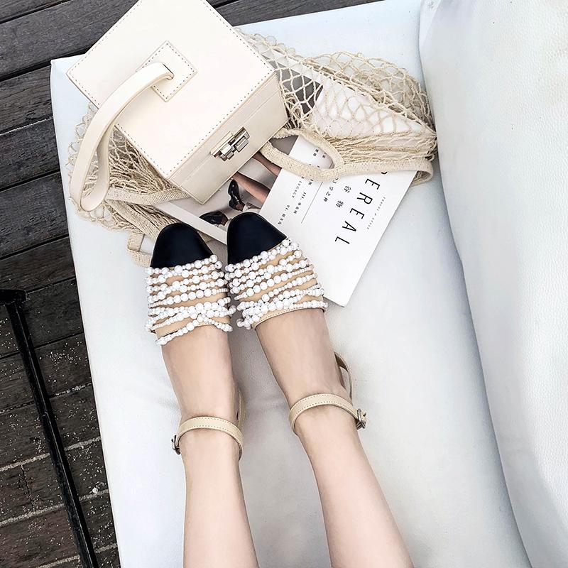 【现货秒发】小香风珍珠绕带搭扣平底低跟方头包头凉鞋女鞋限1000张券
