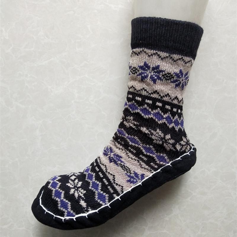 居家地板袜毛线加厚双层成人早教袜防滑高筒保暖居家袜套软底鞋袜图片