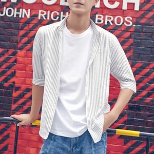 领15元券购买韩风条纹短袖衬衫男士青年衬衣韩版潮流夏季新款7分袖薄款半袖寸