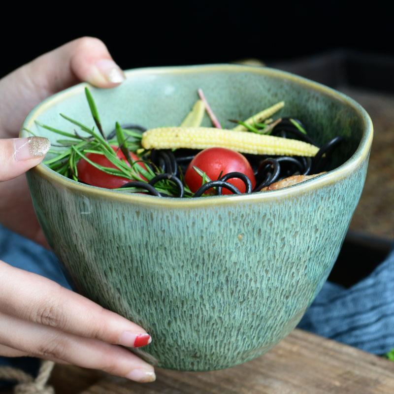 蒂凡创意陶瓷餐具孔雀纹日式沙拉碗正品保证