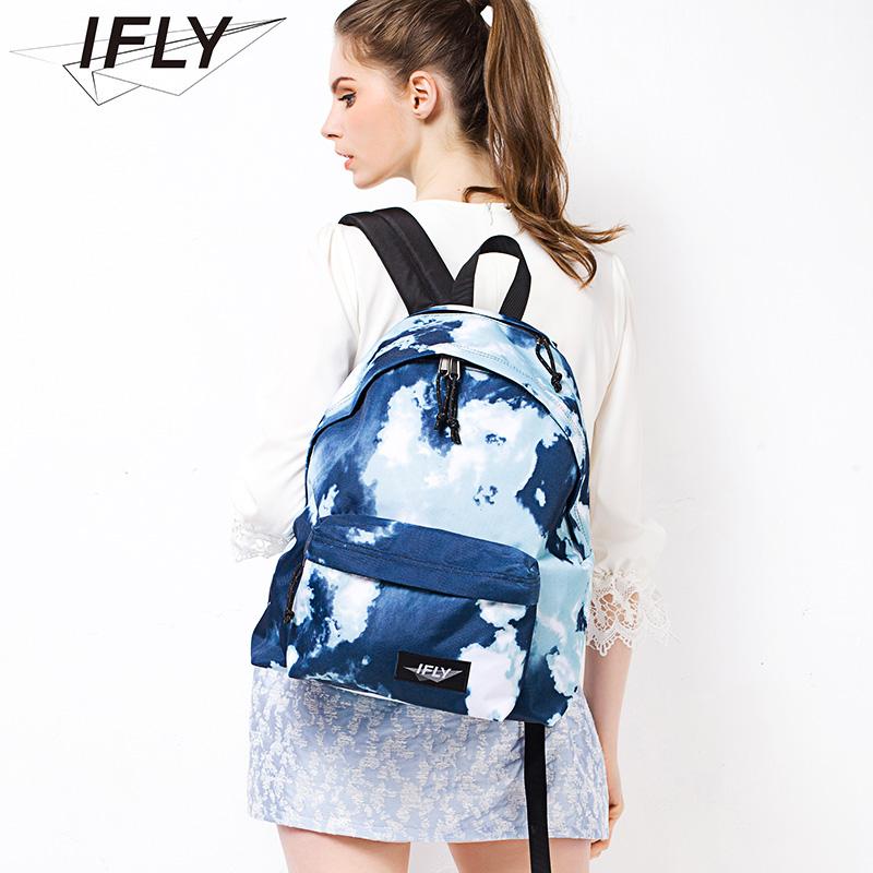 IFLY防泼水学院风双肩包女简约蓝天白云电脑包男时尚出行休闲旅游