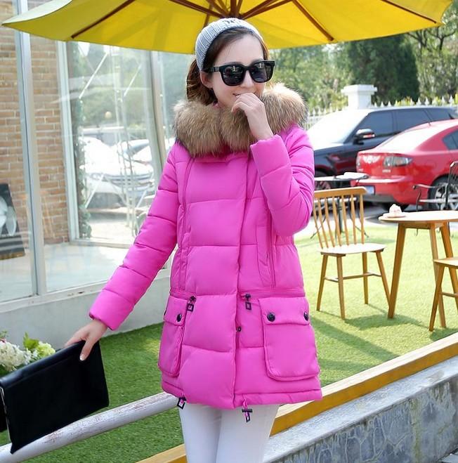 冬季新款时尚气质修身百羽绒棉连帽口袋毛领棉衣