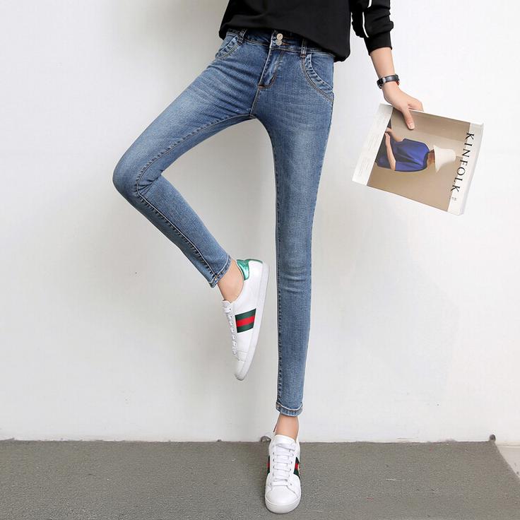 秋冬季新款韩版高腰显瘦牛仔裤女弹力修身小脚裤