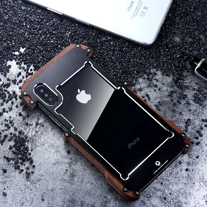 R-Just IRONWOOD Light Slim Timber Aluminum Metal Wood Bumper Case Cover for Apple iPhone X
