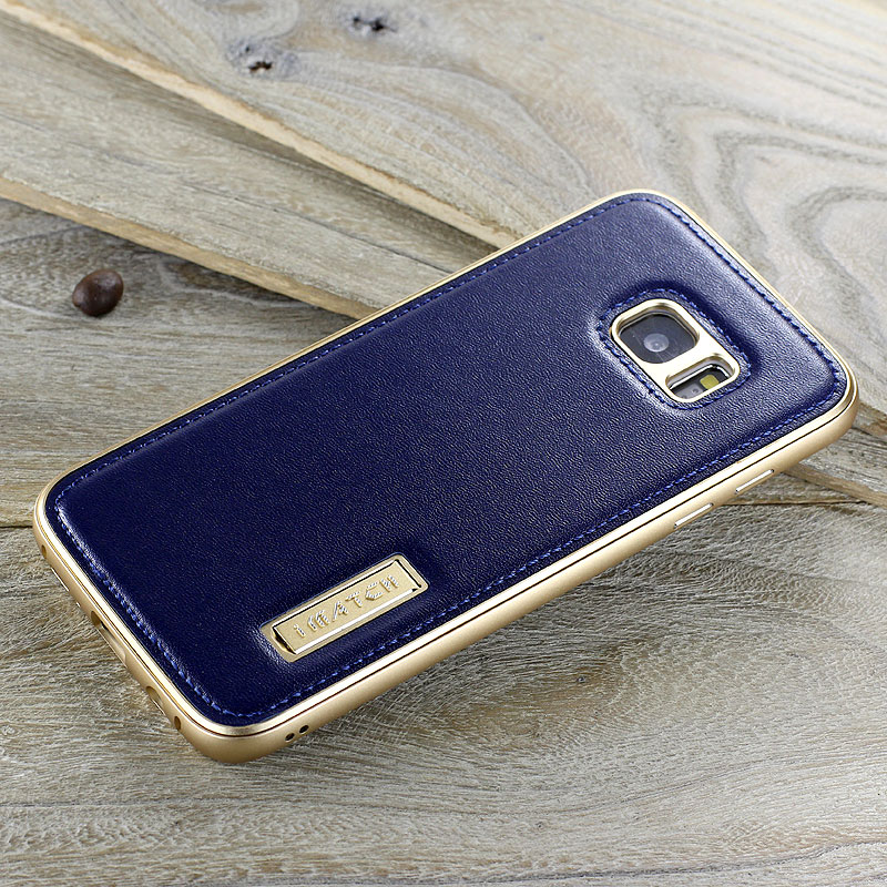 iMatch Luxury Aluminum Metal Bumper Premium Genuine Leather Back Cover Case for Samsung Galaxy S7 Edge