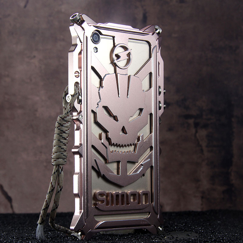 SIMON Mechanical Arm Skull Punk Premium Aluminum Metal Bumper Shockproof Case Cover for OPPO R9 Plus & OPPO R9