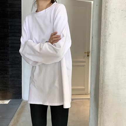 白色打底衫女秋冬2019新款长袖内搭上衣韩版宽松洋气黑色圆领T恤