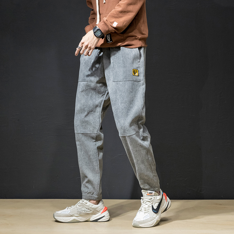 Fall / winter 2019 new casual pants bunch footlight core velvet student Plush warm pants mens pants trend