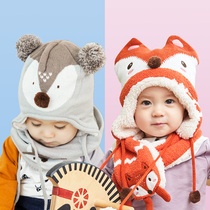 Baby hat scarf boy girl child neck Autumn winter plus velvet ear protectors warm baby wool hat male tide