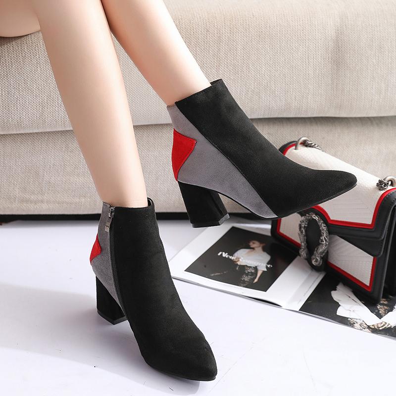 高跟短靴女粗跟2020春秋新款韩版瘦瘦靴拼色性感女鞋百搭靴子女冬