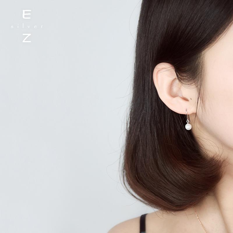 Korean S925 pure silver simple pearl earrings for girls
