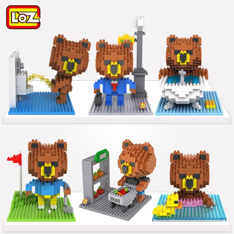俐智loz小顆粒鑽石積木 布熊如廁上班套裝 益智拚插組裝玩具12歲