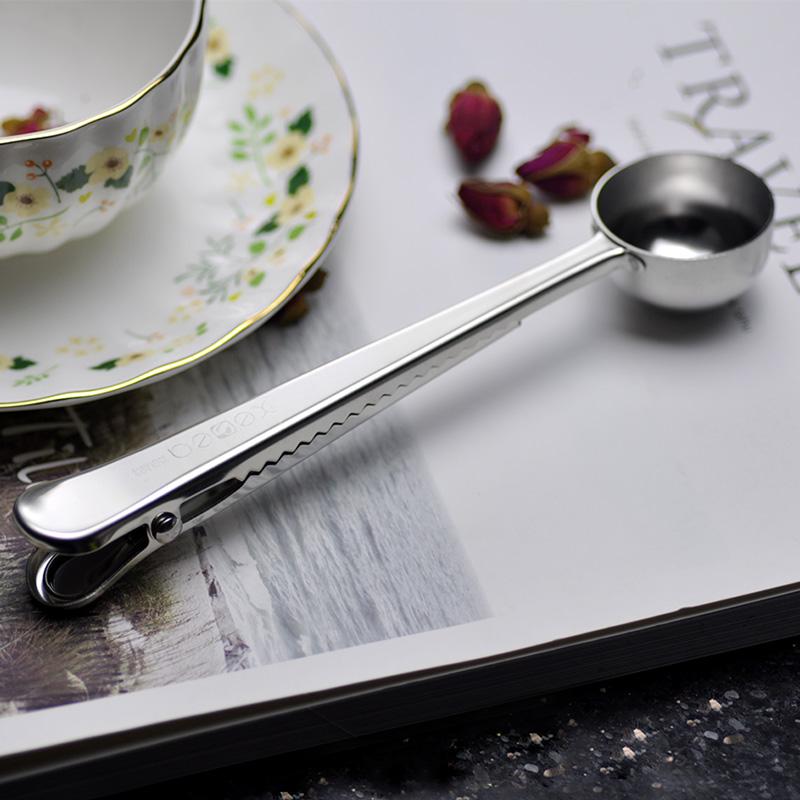 喜诗 304不锈钢勺夹量勺封口夹咖啡勺夹一体多功能勺夹食品封口夹