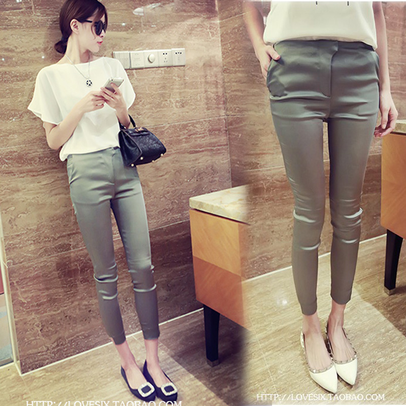 New slim pants in spring 2019 black stretch silk satin cropped casual pencil pants