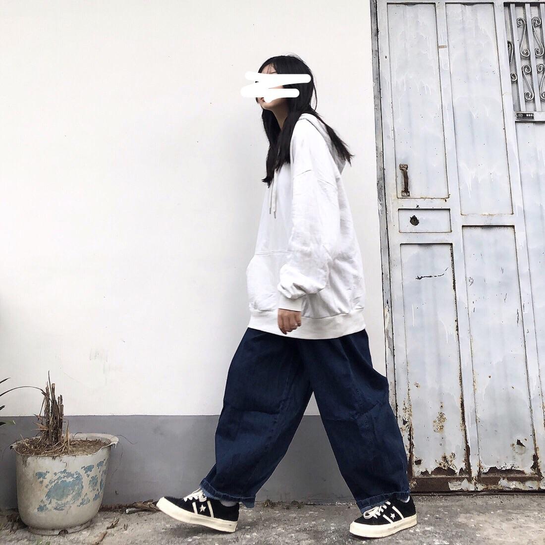 Take off咖喱人秋冬新款宽松百搭工装裤阔腿牛仔裤男女日系灯笼裤