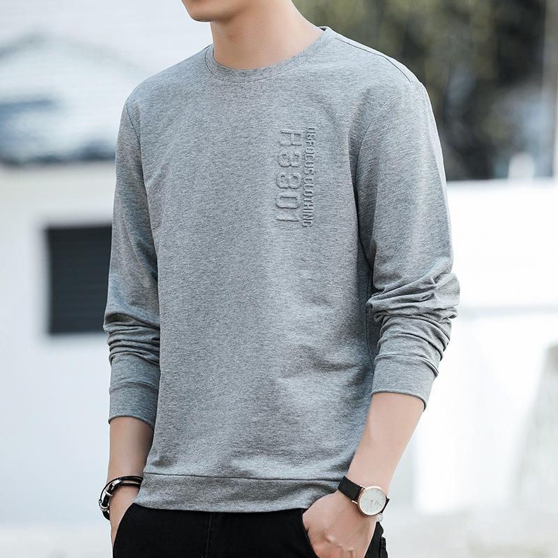 2021 spring mens sweater Korean fashion youth slim fit Korean round neck Pullover Long Sleeve Top Mens bottom shirt