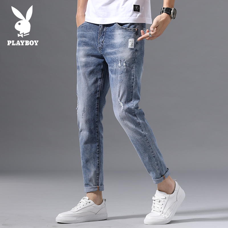Playboy spring and summer 2020 jeans men's fashion Pai 9-point pants with holes, small feet, slim Korean Trend