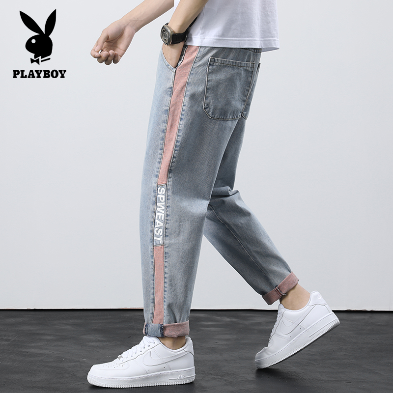 Playboy summer thin jeans men's straight tube loose super fire CEC men's fashion pants overalls fashion brand