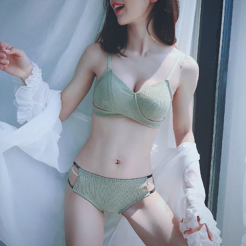 中國代購|中國批發-ibuy99|性感内衣|日系甜美无钢圈薄款小胸聚拢内衣女性感惑文胸罩套装夏季薄杯bra