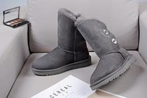 雪地靴女扣子防水灰色中筒靴1094933代购羊皮毛一体澳洲msinugg