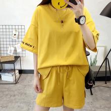 2104#(实拍)大码时尚套装女 韩范百搭短袖印花上衣+短裤