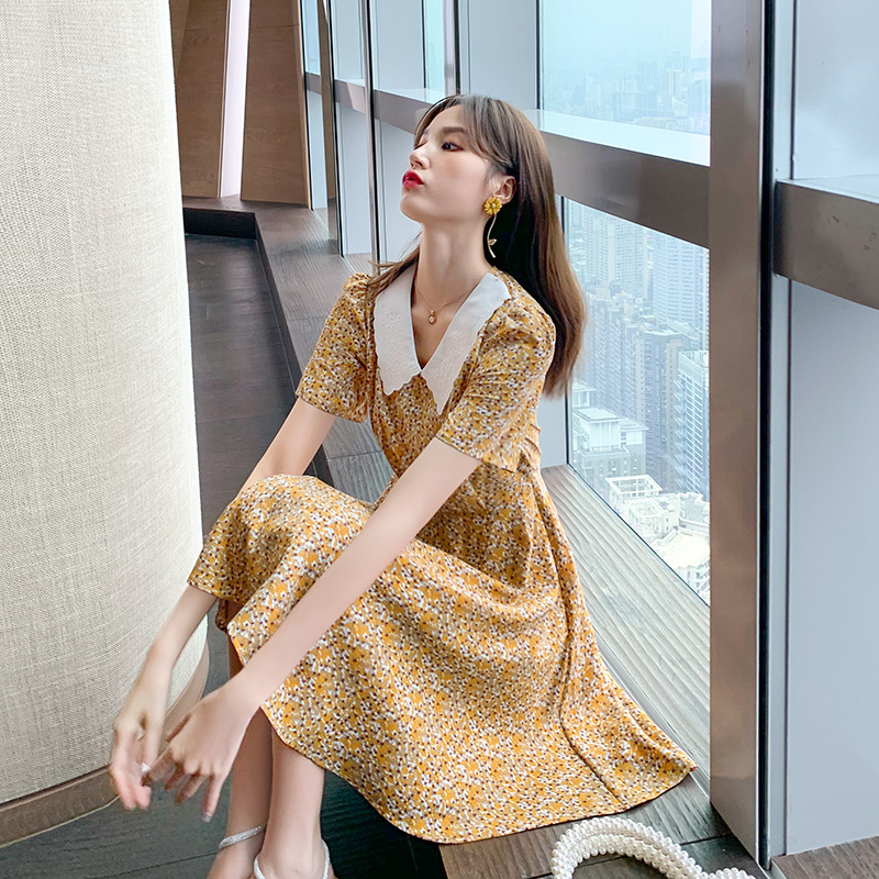 2020 summer dress new temperament sweet doll collar French retro dress Yamamoto style little daisy print dress