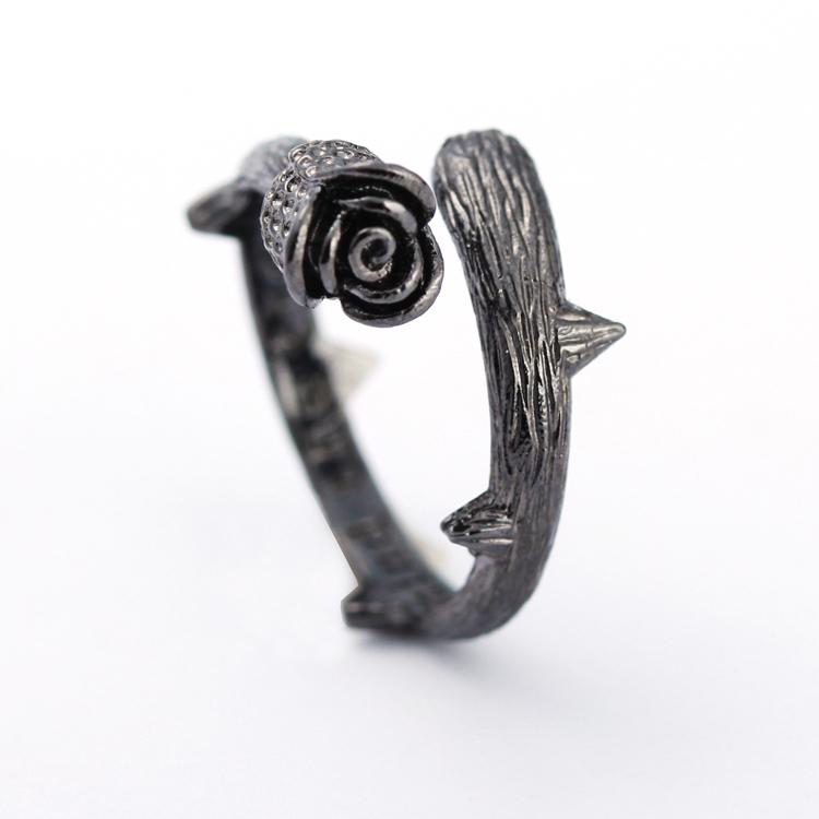 s925纯银黑玫瑰花开口戒指个性复古单身戒日韩国时尚创意饰品礼物