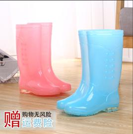 女士时尚果冻色雨鞋高筒防滑防水秋冬胶鞋加棉保暖无内里糖果水鞋