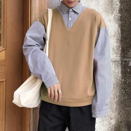 毛衣男衬衫领秋季新款针织衫假两件韩版宽松潮流学生百搭打底衫潮