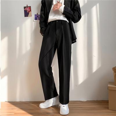 夏季新款ins坠感小西裤男韩版潮流宽松学生直筒阔腿休闲西装长裤