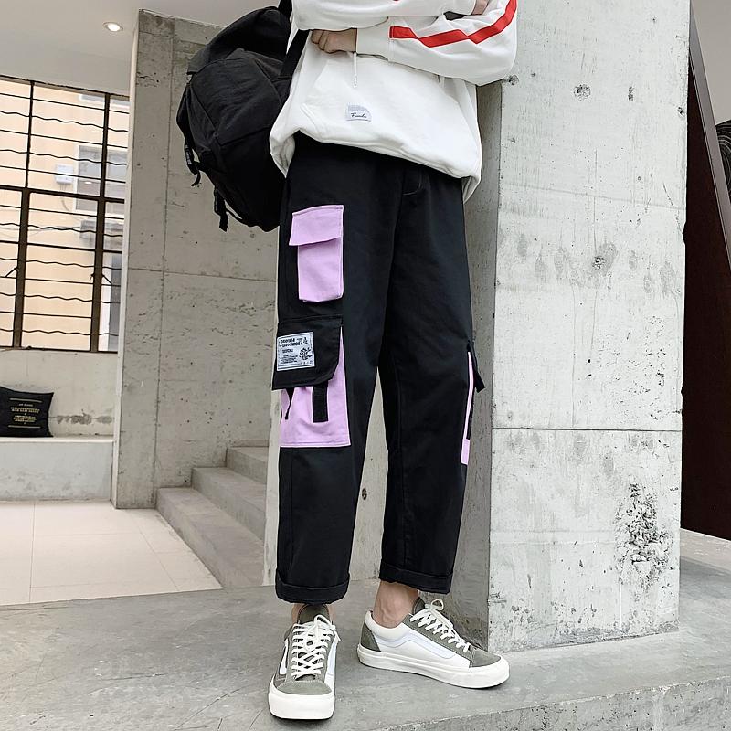 直筒工装裤男潮牌宽松九分阔腿裤11-29新券