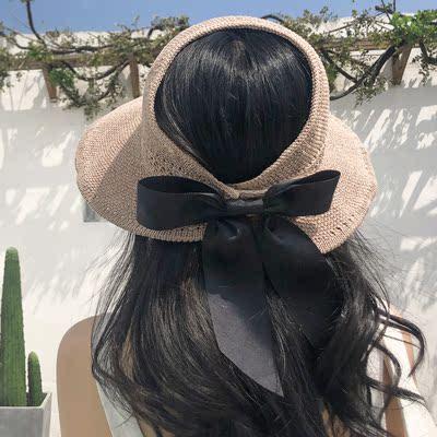 草帽子女夏天韩版防晒空顶遮阳帽沙滩出游渔夫防紫外线遮脸太阳帽