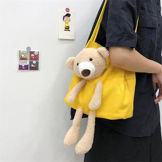 可爱小包包2020新款潮夏季流行小熊帆布包女包百搭单肩布袋大容量